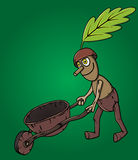 Forest man oak leaf pushing wooden handcart Stock Photo