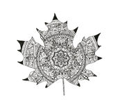 Forest maple leaf isolated. Illustration in zentangle, boho style. Black and white. Decor for your design in oriental style, for invitation card, logo, label Stock Photos