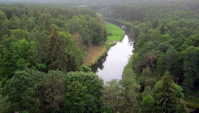Forest and meandering river Stock Photo
