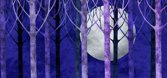 Forest moon collage. Forest and full moon collage with paper texture Stock Photo