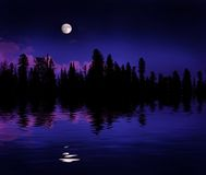Forest Moonrise Reflection Stock Photos