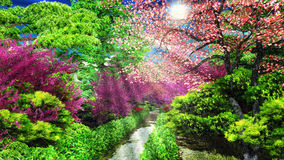 Forest with morning sunlight 3d rendering. Forest with the morning sunlight stock illustration
