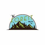 Forest, Mountain Adventure Badge Template Vector Logo Royalty Free Stock Photography