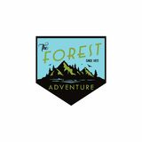 Forest, Mountain Adventure Badge Template Vector Logo Design Royalty Free Stock Photography