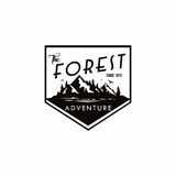 Forest, Mountain Adventure Black And White Badge Template Vector Logo Royalty Free Stock Image