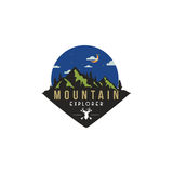 Forest, Mountain Adventure, Deer Hunter at Night Badge Vector Logo. Template Stock Photography