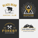 Forest mountain adventure logo design for insignia Royalty Free Stock Photo