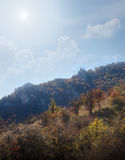 Forest and mountain. Autumn beautiful forest and mountain Royalty Free Stock Photo