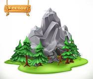 Forest and mountain. Camping vector icon. Forest and mountain. Camping 3d vector icon vector illustration