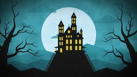 Forest mountain castle bats. Motion Graphics. Intro Video stock video