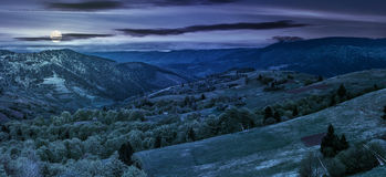 Forest on a mountain hillside in rural area at night. Panoramic rural landscape. forest in mountain rural area. green agricultural field on a hillside. beautiful stock image