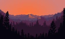 Forest Mountain Range Scenery på solnedgången Stock Illustrationer
