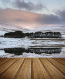 Forest and mountain Winter landscape reflected in calm lake with Royalty Free Stock Photos