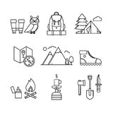 Forest and mountains hiking set. Forest and mountains hiking thin line art icons set. Modern black symbols isolated on white for infographics or web use Royalty Free Stock Photo