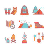 Forest and mountains hiking thin line icons set Royalty Free Stock Photos