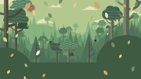 Forest and mountains landscape flat design. Royalty Free Stock Photography