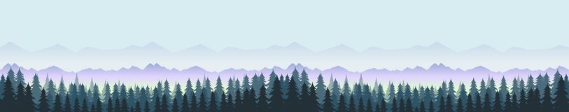 Forest and mountains, nature landscape panorama. Vector illustration for your design Stock Photo