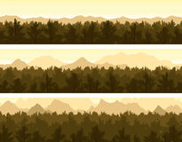 Forest and mountains set Stock Image