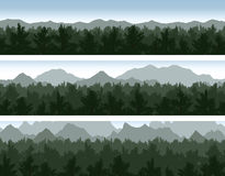 Forest and mountains set Stock Photography