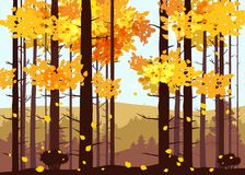 Forest, mountains, silhouettes of pine trees, firs, panorama, horizon, vector, illustration, isolated. Forest, mountains, silhouettes of pine trees, firs Royalty Free Illustration