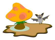 Forest Mushroom and cute Bat Stock Images