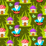 Forest mushroom home and gnomes seamless pattern. Royalty Free Stock Photos