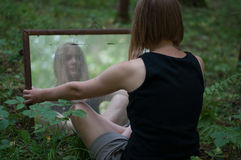 Forest mystic mirror. On grass Stock Photography