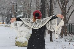 Forest nature beautyl,winter woman snow goes. Nature parking winter woman snow goes royalty free stock image