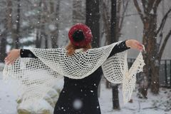 Forest nature beautyl,winter woman snow goes. Nature parking winter woman snow goes stock image