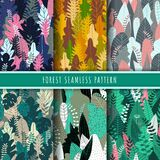 Forest and nature seamless pattern. Jungle patterns vector. Set of 6 tree and tropical leaf background. Green wallpaper. Nature texture background repeat royalty free illustration