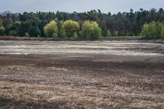 Forest near Dubnany. Dried pond near Dubnany, small town in Moravia region, Czech Republic stock image