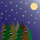 Forest by night. With owls and stars Royalty Free Stock Image