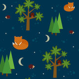 Forest night seamless wallpaper Royalty Free Stock Image