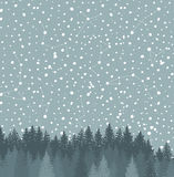 Forest and Night sky with stars vector background. Royalty Free Stock Photography