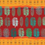 Forest at Noon-Virgin Forest seamless Repeat Pattern illustration. Background in Green Blue and Orange. Forest at Noon-Virgin Forest seamless Repeat Pattern royalty free illustration