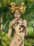 Forest Nymph. An illustration of a nymph who lives in the forest with two songbirds royalty free illustration