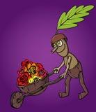 Forest oak man wooden handcart full of flowers Stock Image