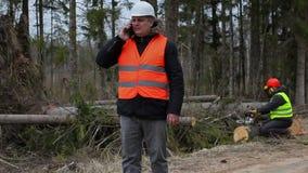 Forest Officer met smartphone en arbeidersbegin het bevestigen kettingzaag stock video