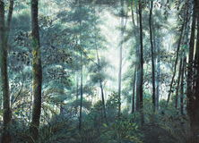 Forest oil painting on canvas Royalty Free Stock Photo