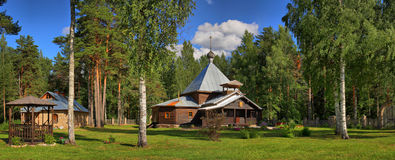 Forest Orthodox Christian Skit. Forest orthodox wooden Monastery in the pine wood Royalty Free Stock Photography