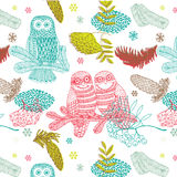 Forest Owls Winter Background Royalty Free Stock Images