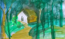 Forest painting water color abstract background. Abstract water color painting of village house royalty free illustration