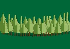 Forest paper art style. Stock Images