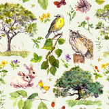 Forest and park: bird, rabbit animal, tree, leaves, flowers, grass. Seamless pattern. Watercolor Stock Images