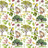 Forest or park: bird, rabbit, tree, leaves, flowers and grass. Repeating pattern. Water color. Forest or park - bird, rabbit, tree, leaves, flowers and grass stock photo
