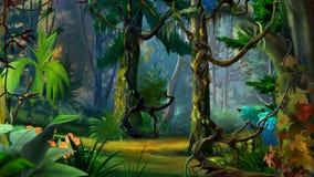 Forest Path escondido no verão ilustração do vetor