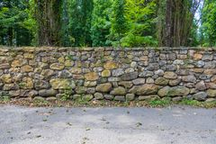 Forest path with old stone wall with moss and vegetation. Moss, ferns, grass royalty free stock image