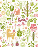 Forest pattern. Seamless forest pattern with little animals Royalty Free Stock Photos