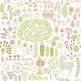 Forest pattern. Seamless forest pattern with little animals Stock Photography