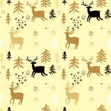 Forest pattern. Hand drawn Christmas seamless pattern with deers, tree,  and snowflake. Holiday background.Unique hand drawn texture.Vector illustration Stock Photos